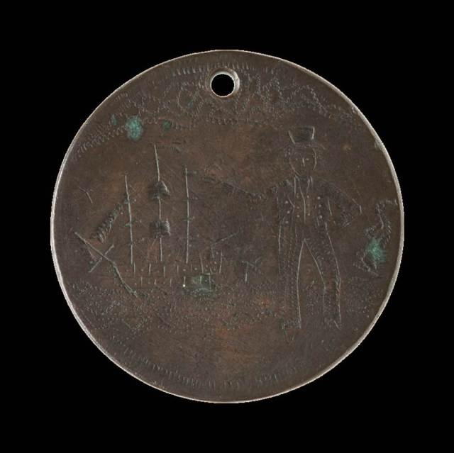 Convict love token depicting man and ship. Reverse: JO[H]NBLOXIDGEAD. 18.15.YS 1839REMMBER MEWHEN FAR AWAY c. National Museum of Australia http://love-tokens.nma.gov.au/highlights/2008.0039.0205