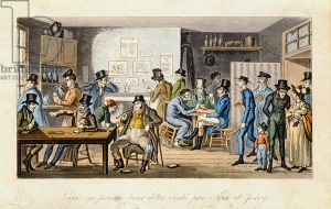 Logic in a debtors' prison being visited by Tom and Jerry, from 'Life in London' by Pierce Egan, 1821-22 (coloured aquatint) by Cruikshank, Isaac Robert (1789-1856); London Metropolitan Archives, City of London