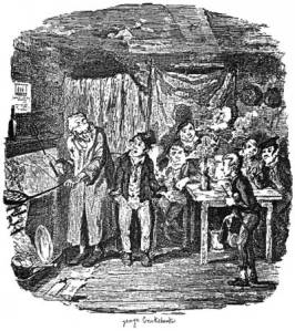 The Artful Dodger (centre) and Fagan. George Cruikshank's illustration for original serialisation of Oliver Twist (1837-9). Courtesy David Perdue's Dickens Page