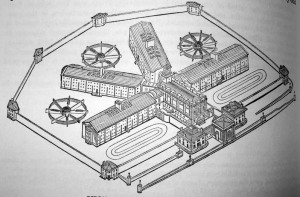 An isometric drawing of Pentonville prison, from an 1844 report by Joshua Jebb, Royal Engineers, Wikipedia