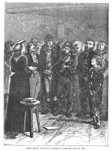 'Sarah Martin conducting service at Yarmouth Gaol' in Edward Hodder, 'Heroes of Britain in War and Peace', London: Cassell, c. 1878, p. 186.