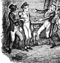 Detail from George Cruikshank's illustration for original serialisation of Oliver Twist (1837-9). Courtesy David Perdue's Dickens Page