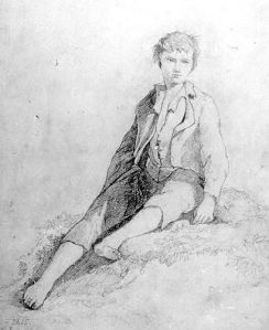 Drawing, 'Boy sitting (barefoot and hatless)' by John Sell Cotman (1782-1842), pencil on board, undated; 32.1 cm x 25 cm; inscription bottom left signed 'Cotman 2615'. Norfolk   Museums & Archaeology Service