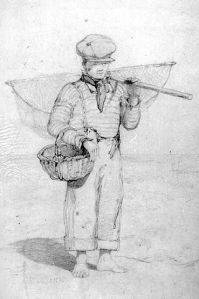 Drawing, 'Boy with basket and shrimping net' by John Sell Cotman (1782-1842), pencil on paper, 1836; 40.1 cm x 30.3 cm; inscription bottom left signed 'Cotman 1836'. Norfolk Museums and Archaeology Service