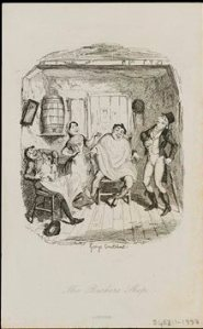 George Cruikshank, Engraving depicting The Barber's Shop, an illustration from the publication The Life of Grimaldi, no date, c. V&A
