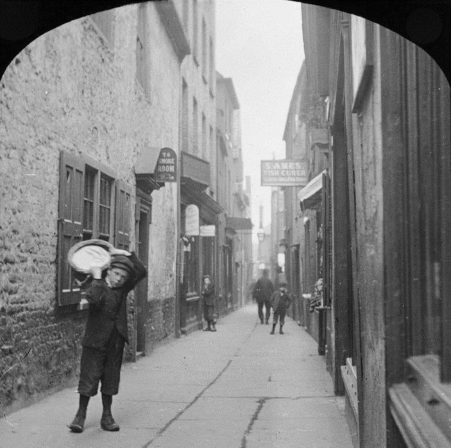 Great Yarmouth, A Row. Lantern slide, 18--? Copyright Norfolk County Council.
