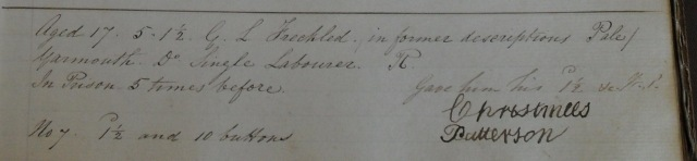 18 April 1844, Index and Receiving Book, Great Yarmouth Gaol, Y/D 41/28, Norfolk Record Office