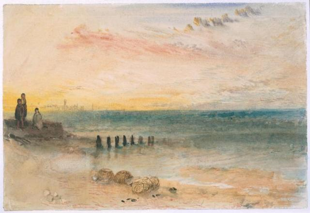 Joseph Mallord William Turner, 'Yarmouth, from near the Harbour's Mouth',  c.1840. Graphite, watercolour and ink ink on paper. C. Tate http://www.tate.org.uk/art/work/N05239