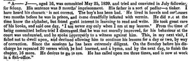 Sarah Martin's notes on Abraham Jenkins, following his first imprisonment, from the Fifth Report of the Prison Inspectors (1840), p. 125.